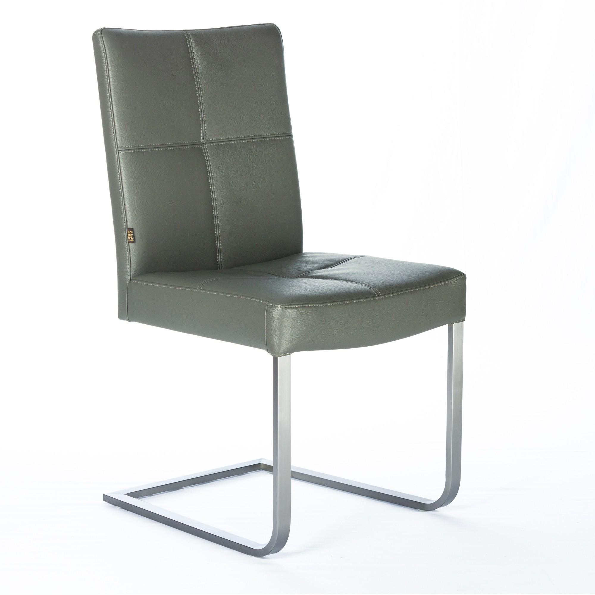 freischwinger lederstuhl libero rindsleder grau edelstahl. Black Bedroom Furniture Sets. Home Design Ideas