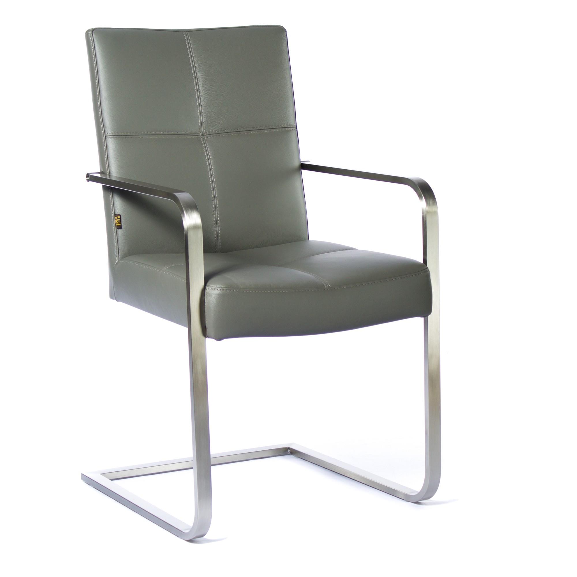 freischwinger armlehnstuhl libero rindsleder grau edelstahl. Black Bedroom Furniture Sets. Home Design Ideas