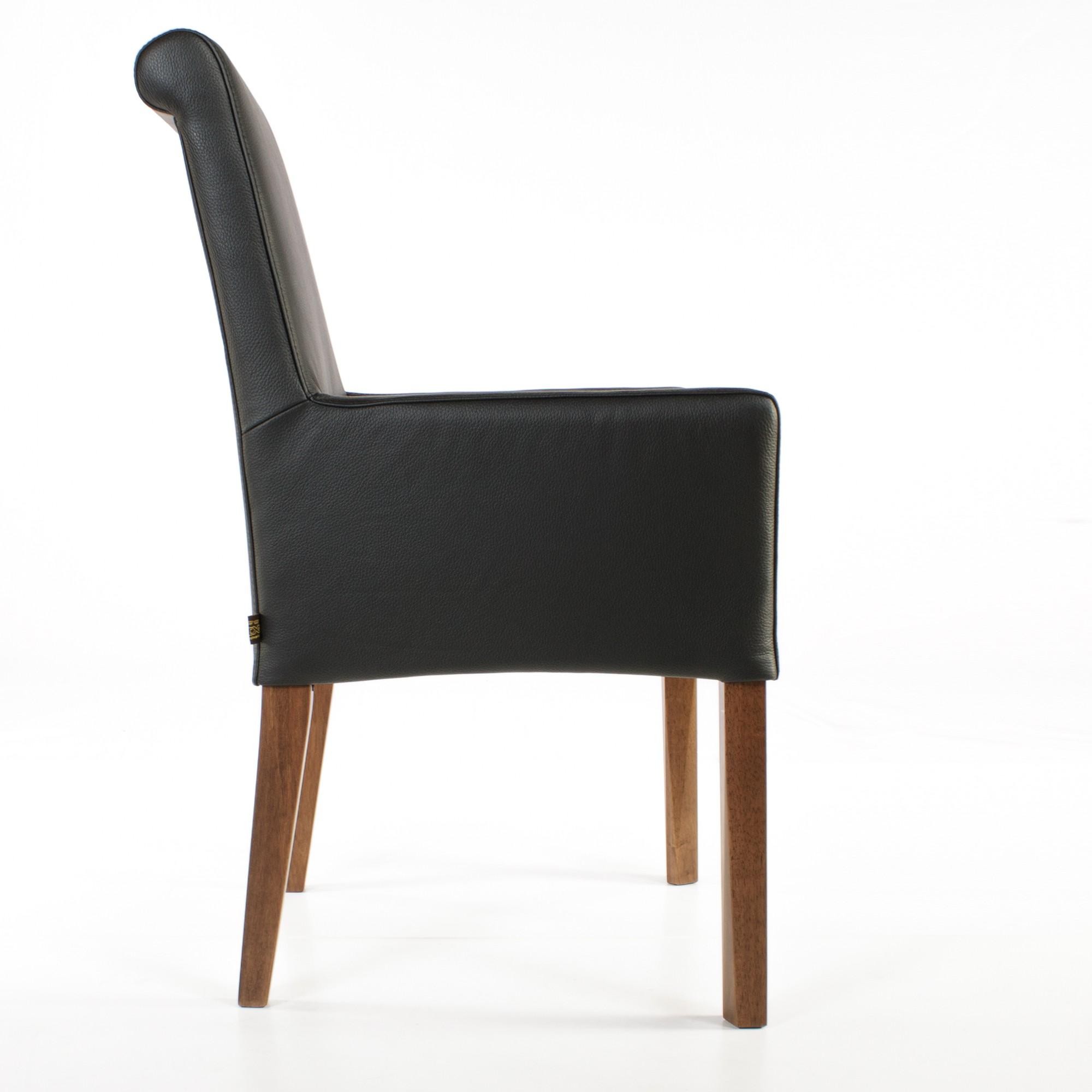 lederstuhl armlehnstuhl galdo schwarz nussbaum. Black Bedroom Furniture Sets. Home Design Ideas