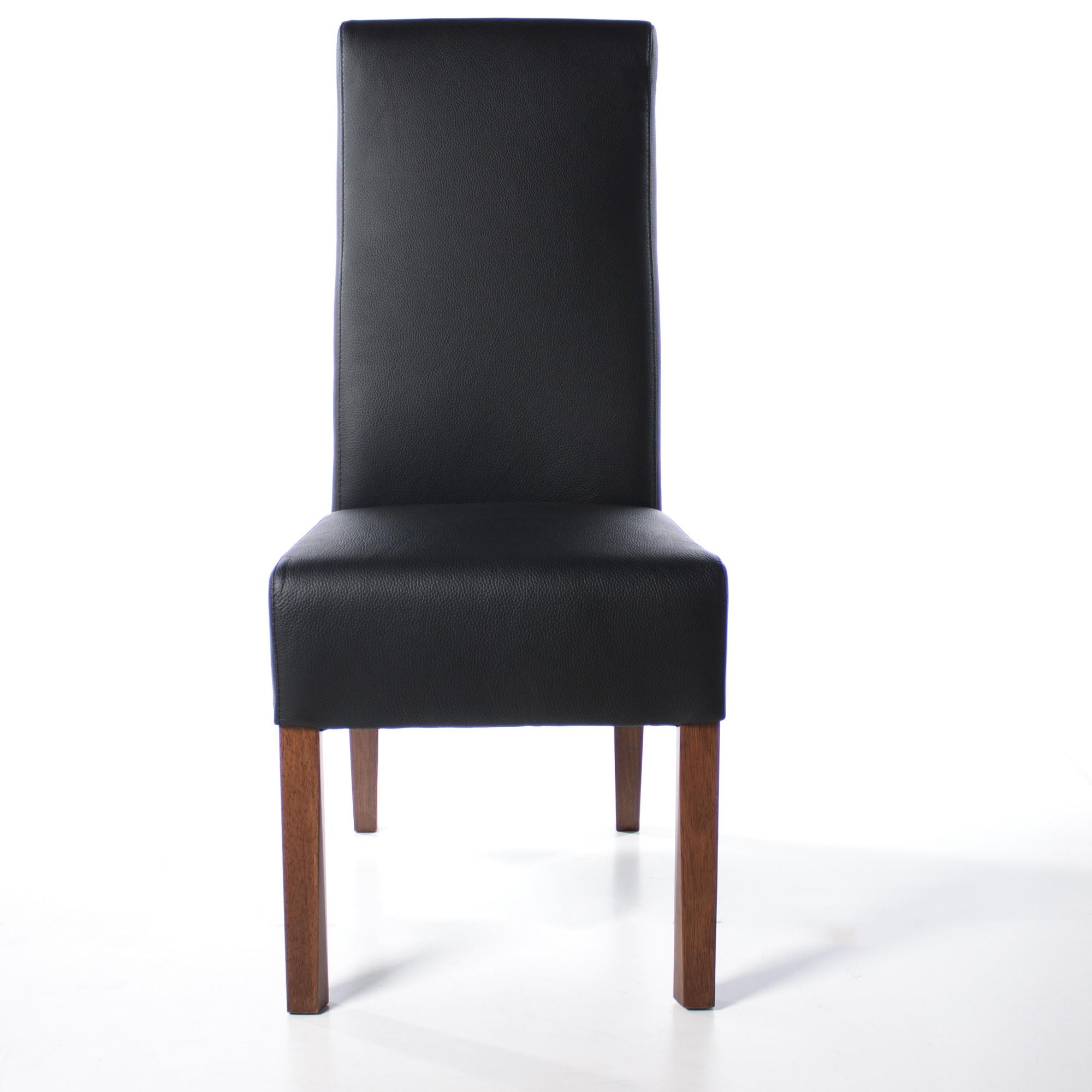lederstuhl regina federkern schwarz nussbaum. Black Bedroom Furniture Sets. Home Design Ideas
