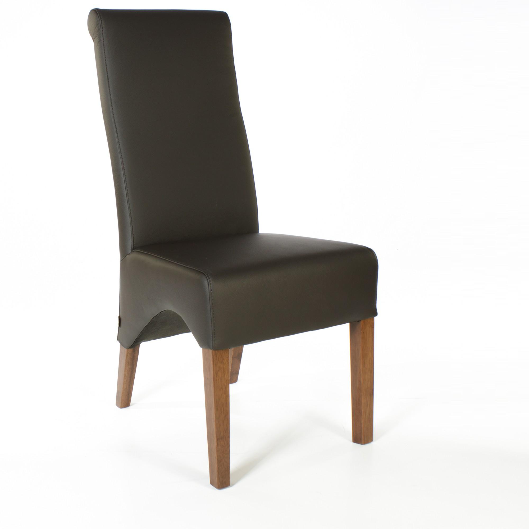 lederstuhl regina federkern dark braun nussbaum. Black Bedroom Furniture Sets. Home Design Ideas