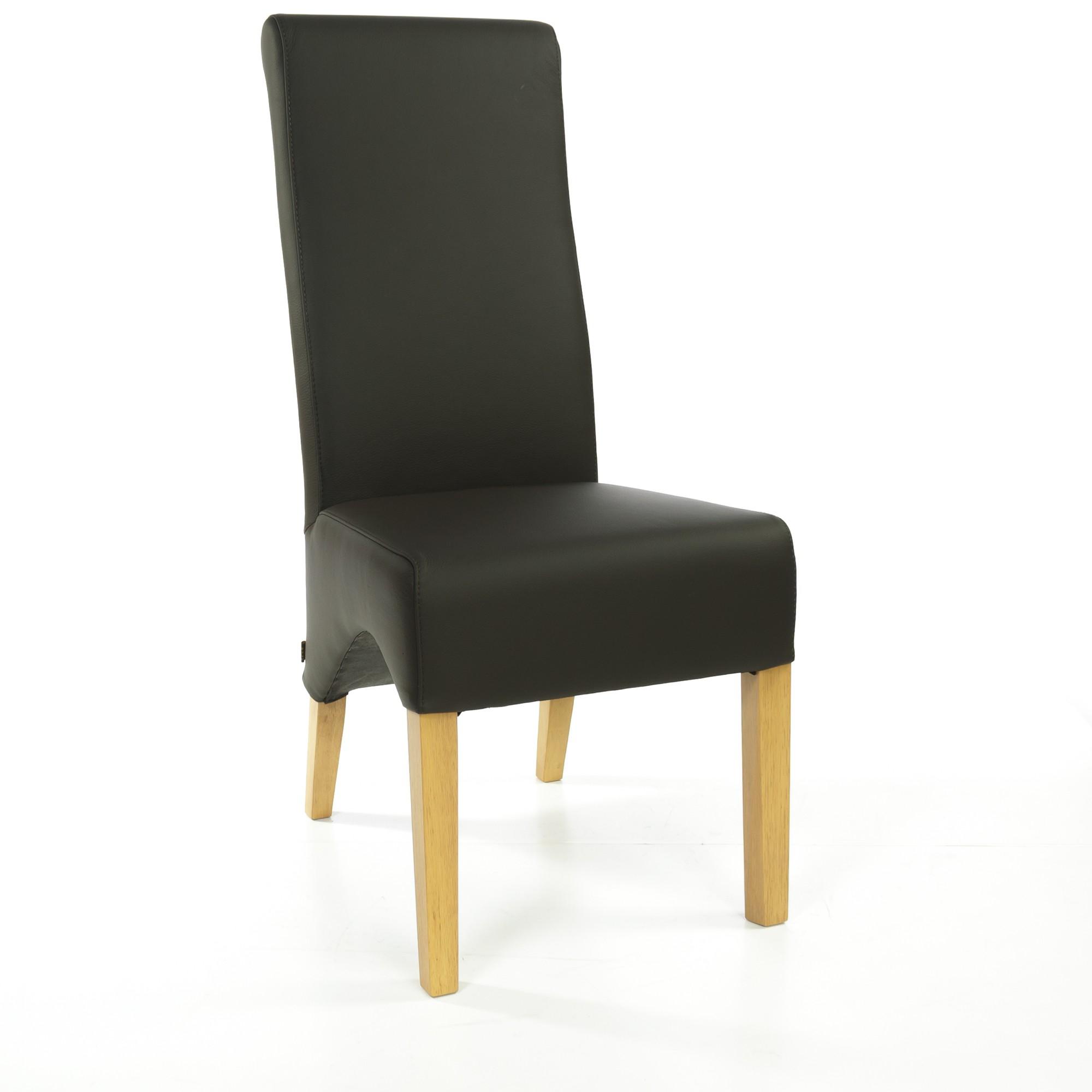 lederstuhl regina federkern schwarz eiche. Black Bedroom Furniture Sets. Home Design Ideas