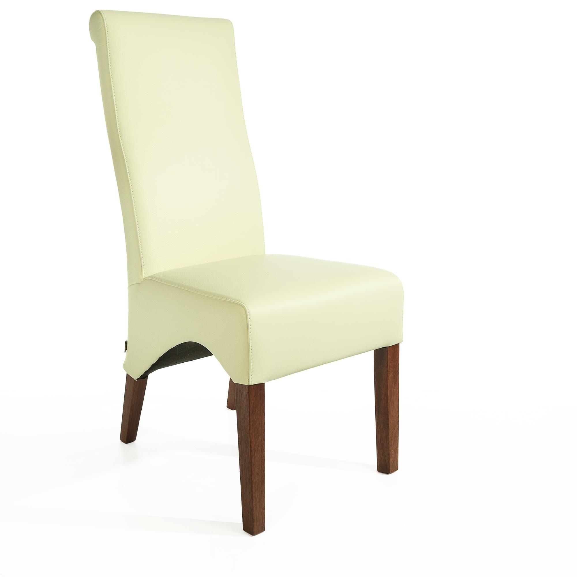 lederstuhl regina federkern creme wei nussbaum. Black Bedroom Furniture Sets. Home Design Ideas