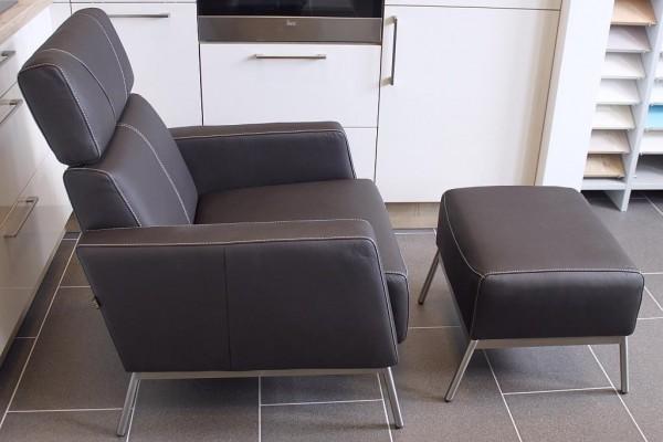 ledersessel braun schwarz wei mit edelstahl six die m belmarke aus duisburg. Black Bedroom Furniture Sets. Home Design Ideas